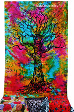 Indian Tree of Life Wall Hanging Single Tapestries Bedspread Throw Ethnic Decorv