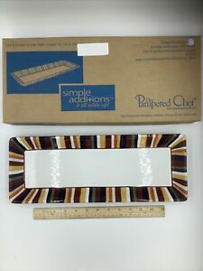 Pampered Chef Simple Additions Rectangular Serving Dish Platter Stripes Retired