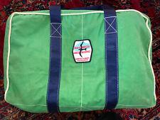 "VTG Hand Made ""Norman Albury Sailmakers"" 18""x12""x9"" Canvas Bag Signature Green."