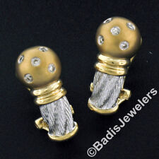 New Unique 14K TT Gold .20ctw Round Diamond Textured Brushed Omega Back Earrings