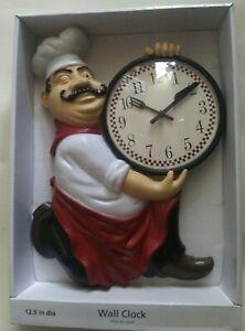 "Fat Italian Chef Kitchen Wall Clock 12.5"" Kitchen Home Decor"