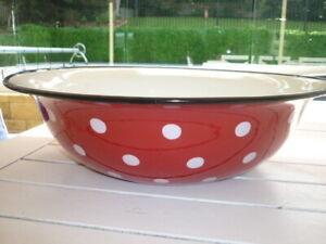 cath kidston large vintage red and white spot enamel bowl