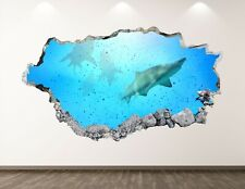 Shark Fish Wall Decal Art Decor 3D Smashed Underwater Animal Kids Sticker Bl219