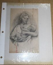 2 Vintage Hand Drawn Sketches - The Madonna & Grief - Oma Ruth Foster