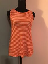 Anthropologie Puella Womens Small Orange Striped Sleeveless Stretch Knit Top