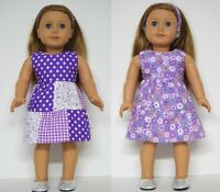 18INCH DOLL CLOTHES~ REVERSIBLE PURPLE DRESS FITS OUR GENERATION AMERICAN GIRL