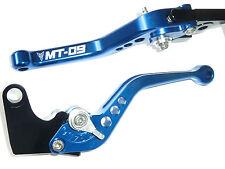 YAMAHA MT-09 SHORT BLUE BRAKE & CLUTCH LEVERS SET RACE TRACK ENGRAVED R15C5