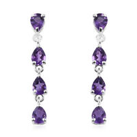 Girls Amethyst 925 Sterling Silver Long Dangle Drop Earrings Jewelry Ctw 1.2