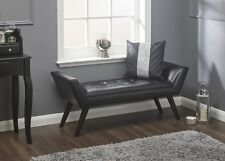 Black Bench Window Seat Faux Leather Deep Button Modern Chair Wooden Legs