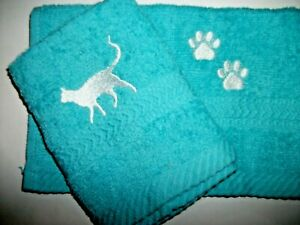 CAT & PAW PRINT EMBROIDERED, AQUA FACE CLOTHS, 2 PC SET,  BENEFITS Pets in need