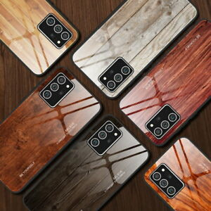 Hülle Für Samsung S21+ S20 FE Note 20 Ultra A21S Holzmuster Glas TPU Case Cover