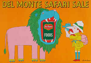 "Rare Lowell Herrero Pop Art ""Safari Sale"" Del Monte Advertising Poster 1960's"
