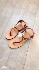 ZARA Women's Flat Sandals with Gold-tone detail(Brown,  US 6/EUR 36)