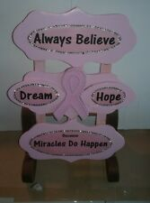 Breast Cancer Awareness Pink Ribbon Hope Wall or Shelf Decor
