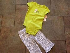 NWT Carters Green Leopard Gray Kitty Daddy says I'm Purr-fect 2 Pc Outfit 9 mo