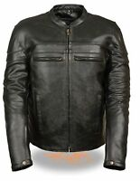 MEN'S MOTORCYCLE RIDERS FRONT BACK REFLECTIVE LEATHER JACKET WITH 2 GUN POCKETS