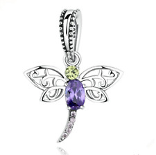 Dragonfly European CZ Crystal Charm Silver Spacer Beads Fit Necklace Bracelet !!