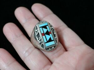 Vintage Zuni Butterfly Ring with Inlaid Turquoise and Spiny Oyster