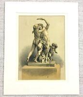 1857 Antique Print Bacchus God of Wine Statue French Louis XVI Classical Art