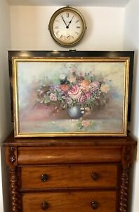LARGE OLD CANVAS PAINTING BY NANCY DARK FLOWERS VINTAGE IN THE FRAME WORLDWIDE P