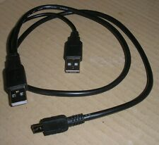 [USB]+[USB]-to-USB-mini DATA & Power Cable charger adapter 2->-1 70+20cm