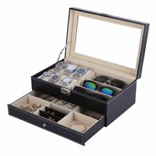 Double Layers Wooden Jewelry Sunglasses Watch Display Slot Case Box Container 5P