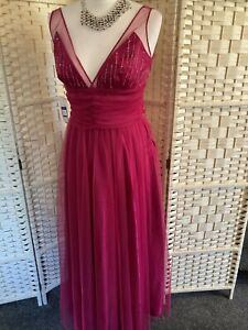 Prom Dress NEW Dark Pink Net And Beaded Top Size 10 By Impromptu
