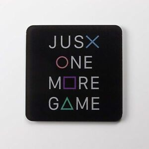 Just One More Game PlayStation Themed Coaster - Printed Acrylic - PS Buttons