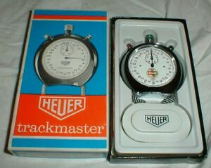 NEW Heuer Trackmaster Stopwatch Champion Spark Plug Logo Stop Watch in Box