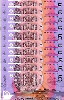 LAST PREFIX HB06  2006  AUSTRALIAN $5.- DOLLARS CONSECUTIVE SET OF 10 NOTES,