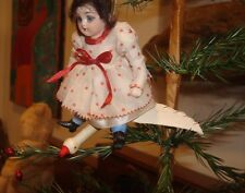 1900 Germany Heubach Girl Flying on a Dresden & Cotton Stork Christmas Ornament