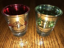 San Francisco Golden Gate and Cable Car Shot Glass Red Green Inside Translucent