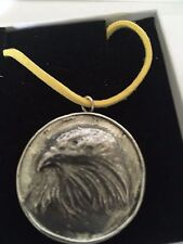 """Eagle On Disc TG69  Solid Fine English Pewter On 18"""" Yellow Cord Necklace"""