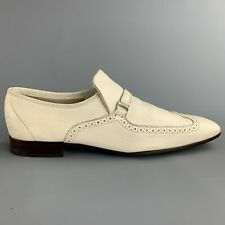 SALVATORE FERRAGAMO Sammy US 11 / EU 44 Ivory Perforated Leather Slip On Loafers
