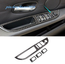Real Carbon Fiber Car Window Switch Panel Cover Trim For BMW 5 Series E60 06-10