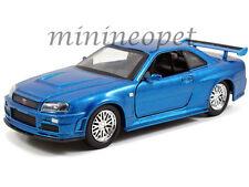 JADA 97185 FAST AND FURIOUS BRIAN'S 2002 NISSAN SKYLINE GT R R34 1/32 BLUE