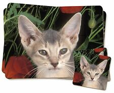 Face of a Blue Abyssynian Cat Twin 2x Placemats+2x Coasters Set in Gif, AC-178PC