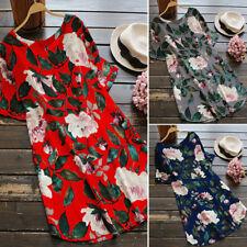ZANZEA 8-24 Women Plus Size A-Line Boho Floral Sundress Cotton Beach Party Dress