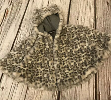 Girls Next Grey 3-4 Years Animal Print Fur Cape  Poncho Coat Hooded