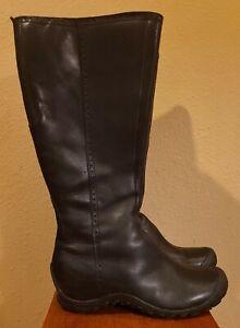 MERRELL Plaza Peak Black Leather Side-Zip Boots Women 7.5 US / 38 EU