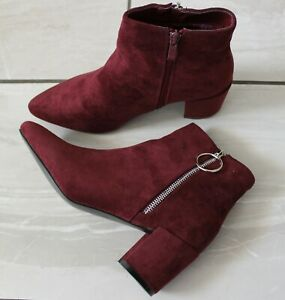 Women Red Wine Ankle Boots Mid Block Heel Western Casual Shoes Chelsea Boots 3-7