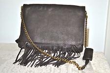 NWT $469 ABACO Paris Boho Chic FRINGE Goatskin Leather Shoulder Bag Dark Brown