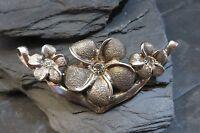 Schöner 925 Silber Anhänger Blümen Blüten Zirkonia Für Kette Oder Collier Patina