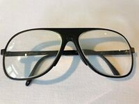c.1980's Vintage Revue Eyeglasses Black Made in Italy Aviator Style