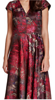 M&S Red Brocade Watercolour Floral Dress 16 Jacquard Fit Flare Arty Chic