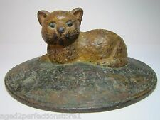 Antique Cast Iron CAT SITTING ON RUG Doorstop orig old paint rare htf door stop