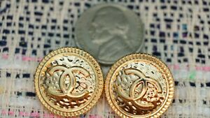 2 Two STAMPED VINTAGE CHANEL BUTTONS 2 pieces   Gold metal