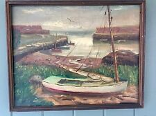 1940's Oil Painting Catboat, Lanes Cove Gloucester Ma. Signed S J Gorman