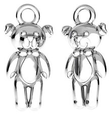 ONE SMALL STERLING SILVER 925 TEDDY BEAR CHARM / PENDANT, 14 MM