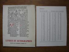 Catalogue de Vente aux Encheres 1977 LIVRES AUTOGRAPHES provenances celebres